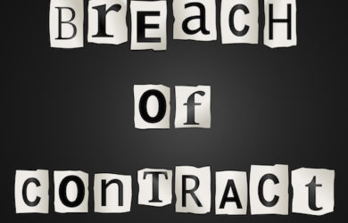 Illustration depicting cutout printed letters arranged to form the words breach of contract.