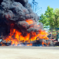 Truck explosion that is illustrative of rising number of truck accidents